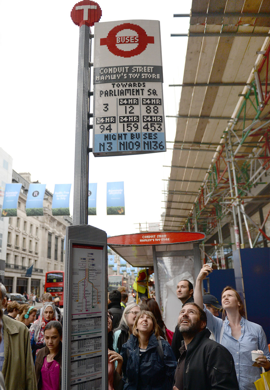 Lego bus stop sign, Regents Street