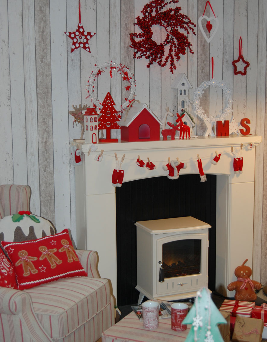 Christmas in July fireplace